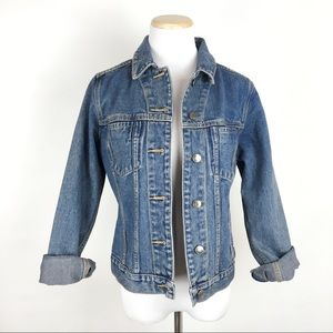 VTG Medium Wash Denim Jacket Faded Distressed